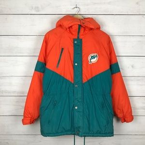Vintage 1990s Miami Dolphins Puffer Hooded Jacket